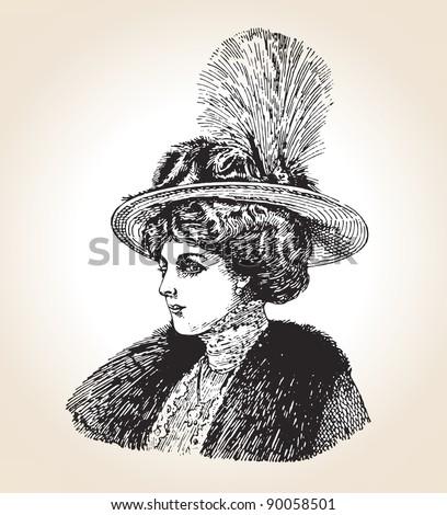 Vector illustration of vintage fashionable woman. Souvenir, Saint Peters burg, 1880. - stock vector