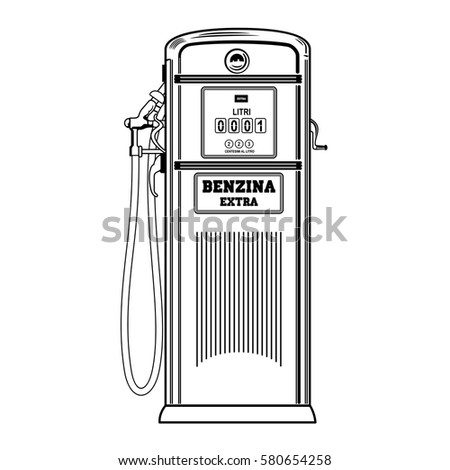 Old Gas Station Drawing Vector Illustra...