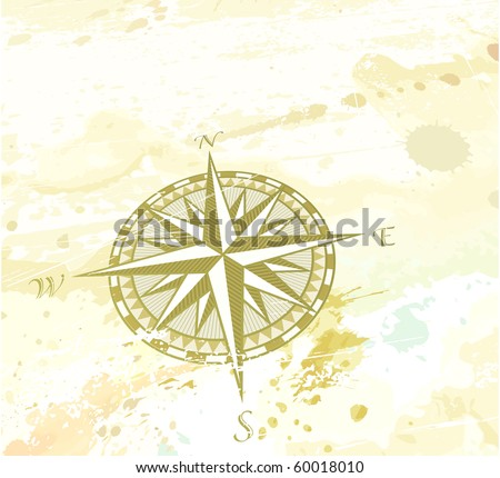 """Vector illustration of vintage grunge background with retro compass windrose. Great for any """"direction"""" you want to go... - stock vector"""