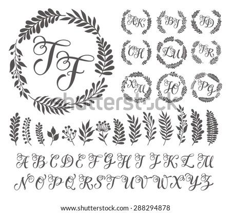 Vector illustration vintage monogram set design stock for W and p design
