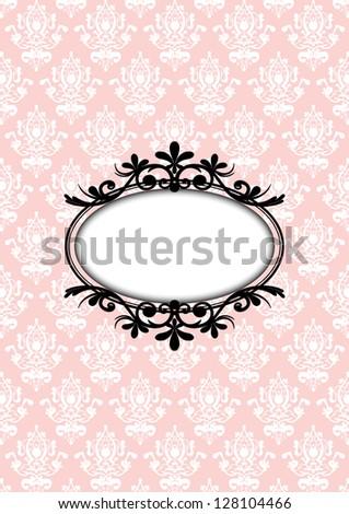 Vector illustration of vintage pink frame - stock vector