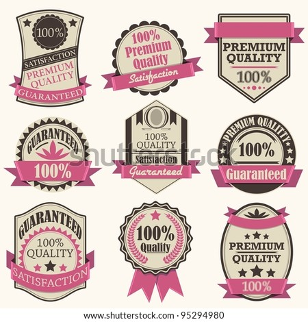 vector illustration of vintage premium quality label - stock vector