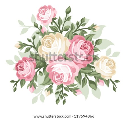Vector illustration of vintage roses. - stock vector