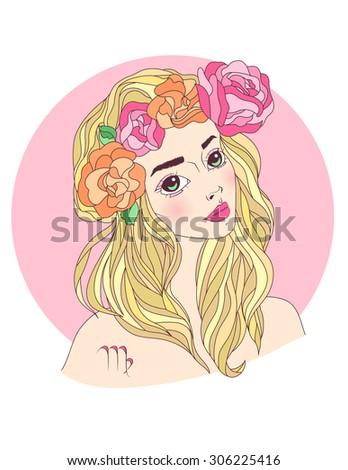 Vector illustration of virgo zodiac sign as a beautiful girl - stock vector