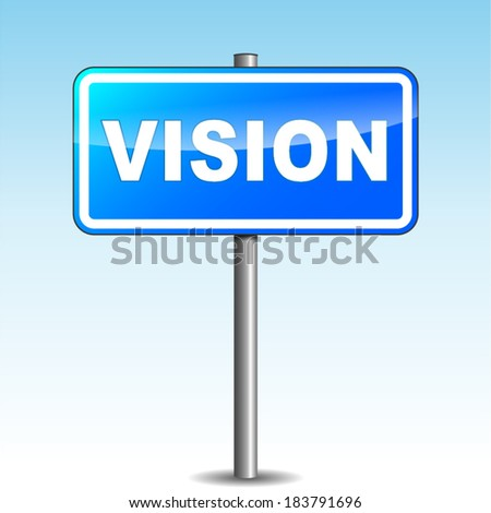 Vector illustration of vision signpost on sky background - stock vector