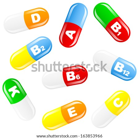 vector illustration of vitamin pills