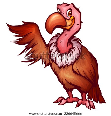 Vector illustration of vulture in cartoon style. - stock vector