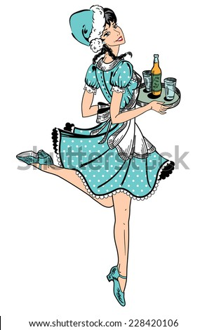 Vector illustration of waitress in blue dotted dress in retro style running with beer order - stock vector