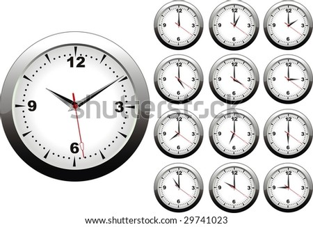 vector illustration of wall clock with twelve hours