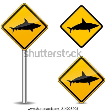 Vector illustration of warning shark signs on white background - stock vector