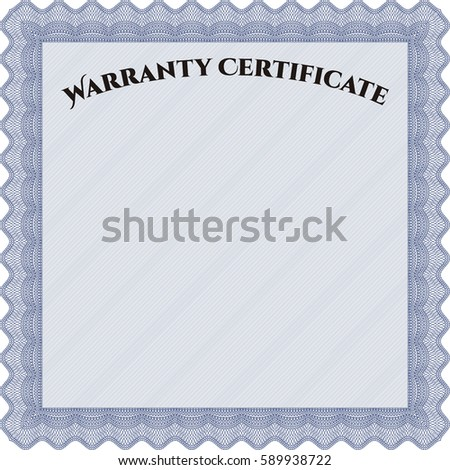 Vector illustration of Warranty template icon in blue.