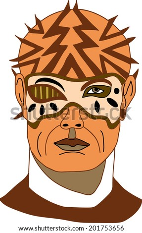 Vector illustration of warrior man with a mask which covers only one eye and some tips on its skull - stock vector