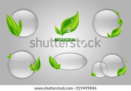 vector illustration of water drops with leaves logo set. Idea for spa, organic, corporate identity design, modern graphic, new life, clean, branding, natural fresh, ecology, nature icon & background - stock vector