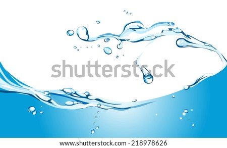 Vector illustration of water splash on white. - stock vector