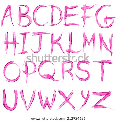 vector illustration of watercolor alphabet set - stock vector