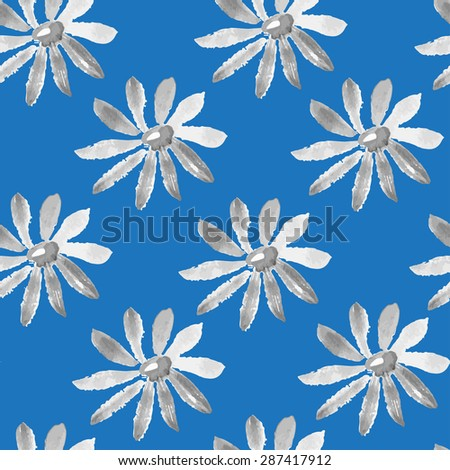 Vector illustration of watercolor Chamomile seamless texture