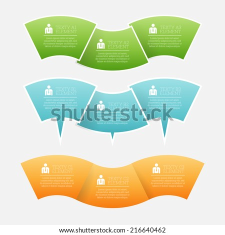 Vector illustration of wave element infographic copyspace design template element. - stock vector