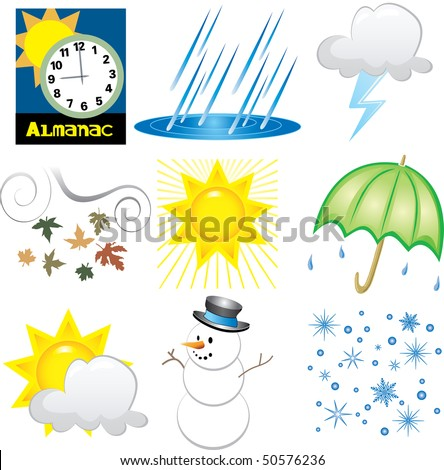 Vector Illustration of 9 Weather Icons. Very Easy to edit. - stock vector