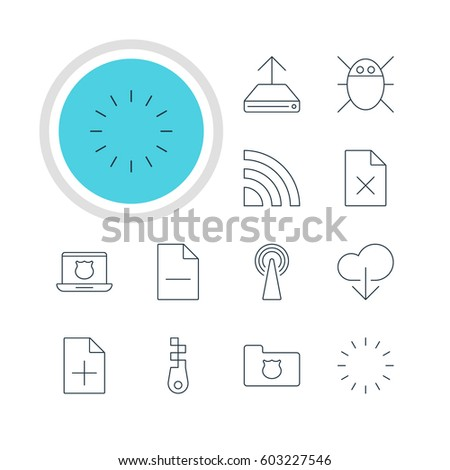 Vector Illustration Of 12 Web Icons. Editable Pack Of Hdd Sync, Delete Data, Waiting And Other Elements.
