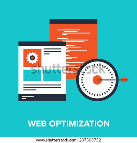Vector illustration of web optimization flat design concept. - stock vector