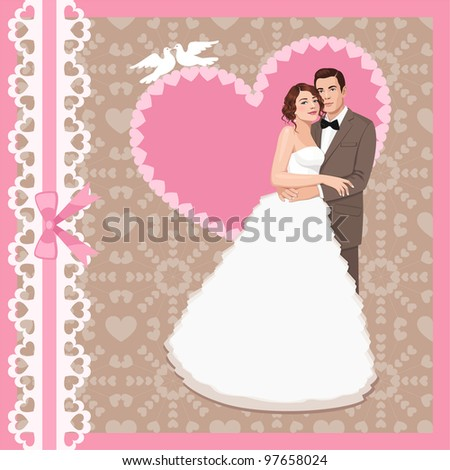 Vector illustration of wedding invitation with bride and groom - stock vector
