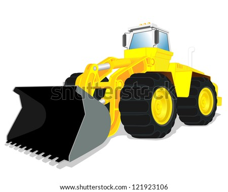 vector illustration of wheel loader - stock vector