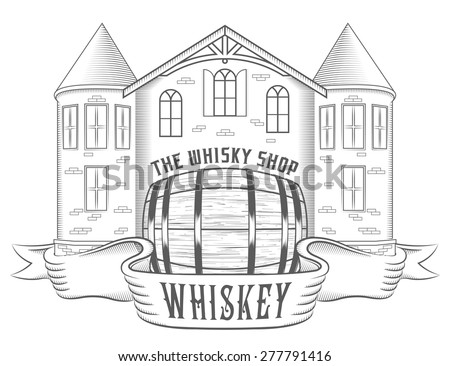 Vector illustration of whiskey shop on a white background. Black and white Illustration old tavern with barrel and label with name whiskey or for your brand name - stock vector - stock vector