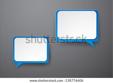 Vector illustration of white and blue paper rectangular speech bubbles. Eps10.