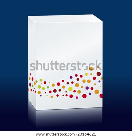 Vector illustration of white box with colored dots. Copy space. - stock vector
