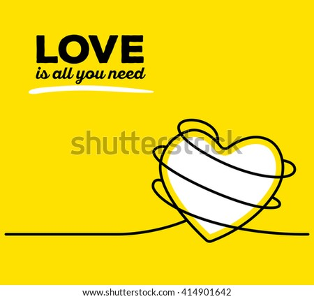 Vector illustration of white color heart with black wire and text on yellow background. Love is all you need concept. Thin line art flat design of heart for love and feelings theme - stock vector