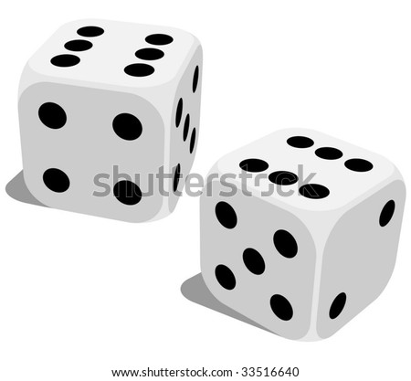 Vector illustration of white dice with double six roll. No gradients or effects. - stock vector