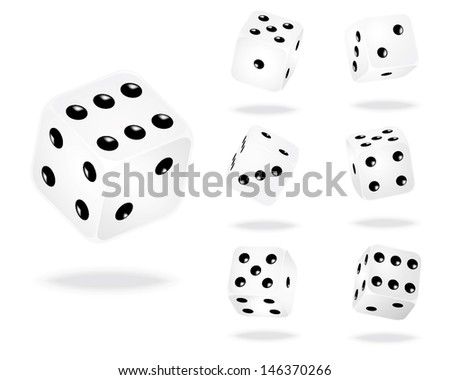 Vector illustration of white dices. - stock vector