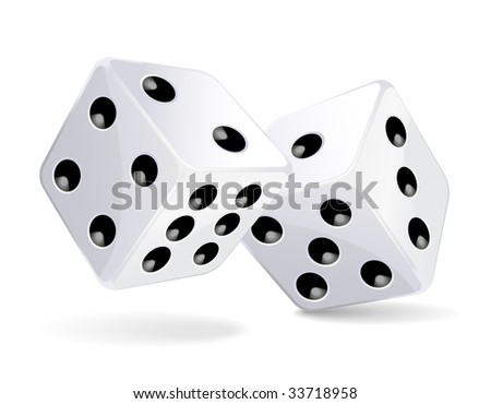 Vector illustration of white dices