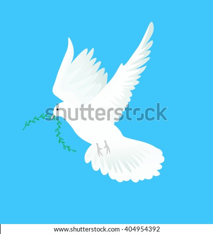 Vector illustration of white dove flying way up in a blue sky with green twig in beak. Symbol of peace - stock vector
