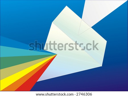 Vector illustration of white light passing through prism and showing all colors of spectrum - stock vector