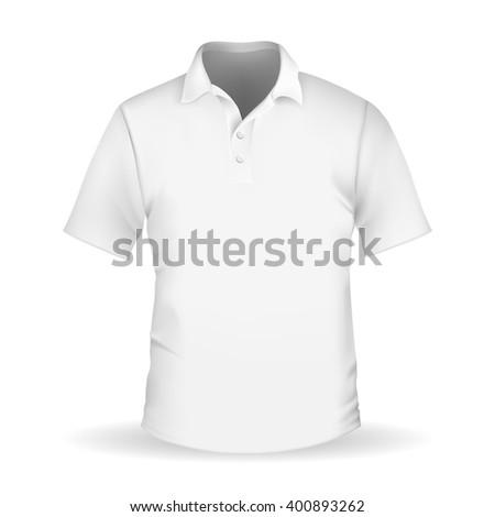 Vector  illustration of white men's polo - stock vector