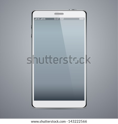 Vector illustration of white modern realistic smartphone with empty black screen. Eps10. - stock vector