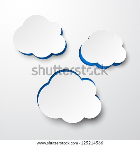 Vector illustration of white paper notched out clouds. Eps10. - stock vector