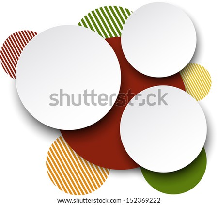 Vector illustration of white paper round speech bubbles over colorful background. Eps10.  - stock vector