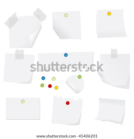 vector illustration of white paper with pins