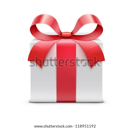 Vector illustration of white present box with red bow