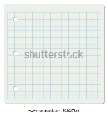 Vector illustration of white squared school paper sheet.