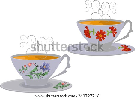 Vector illustration of whites Cups with flower pattern.  - stock vector