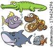 Vector illustration of Wild animal cartoon - stock vector