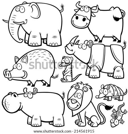 Vector Illustration Wild Animals Cartoons Coloring Stock Vector ...