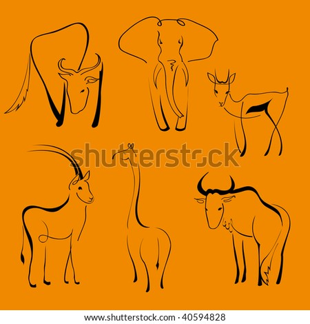 Vector illustration of Wild Animals Design Set made with simple line only - stock vector