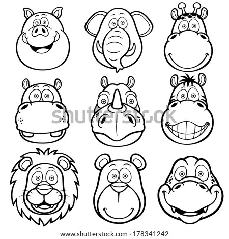 animal faces coloring pages - shutterstock pork and beef cuts sketch coloring page