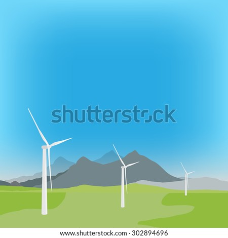 Vector illustration of wind turbine in background with field and mountain landscape. Wind power, wind energy - stock vector
