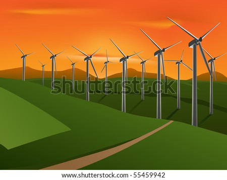 vector illustration of wind turbine on the green fields in the sunset