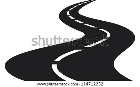 vector Illustration of winding road - stock vector